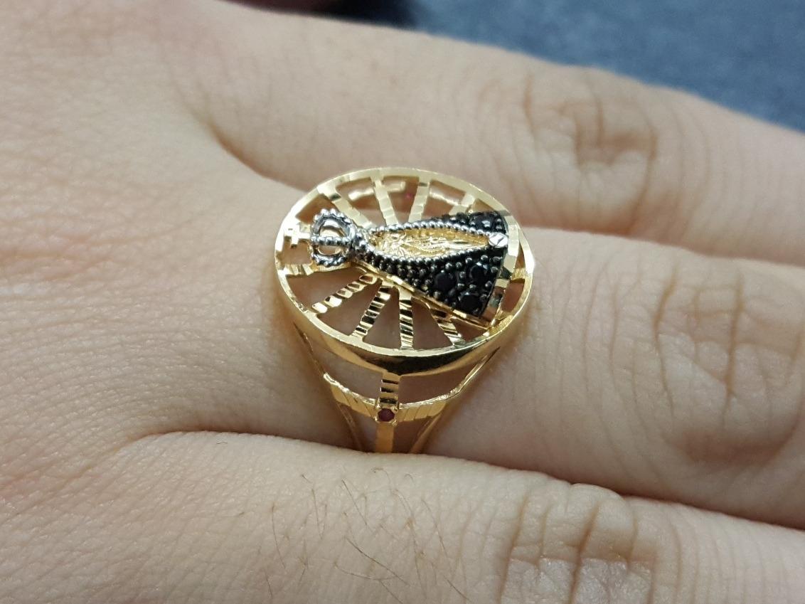 a68100f26c972 anel feminino nossa senhora aparecida em ouro 18k com safira. Carregando  zoom.