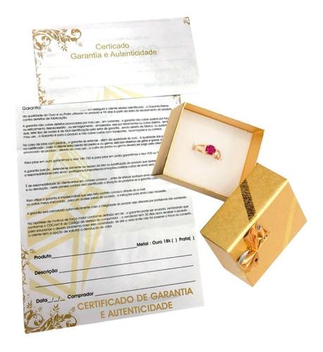 anel feminino ouro 18k com pedra zircônia 6mm mães à vista