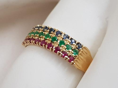 anel feminino ouro 18k com pedras de rubi esmeralda e safira