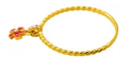 anel feminino ouro 18k penduricalho flor com 7 brilhantes + porta joias 1836