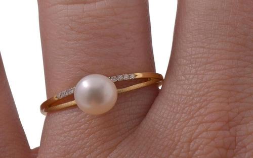 anel feminino ouro 18k solitário pérola com 13 brilhantes + porta joias 1814