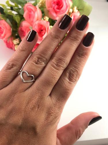 anel feminino prata legitima 925 coração n º 22