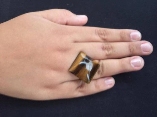 anel feminino regulável pedra olho de tigre