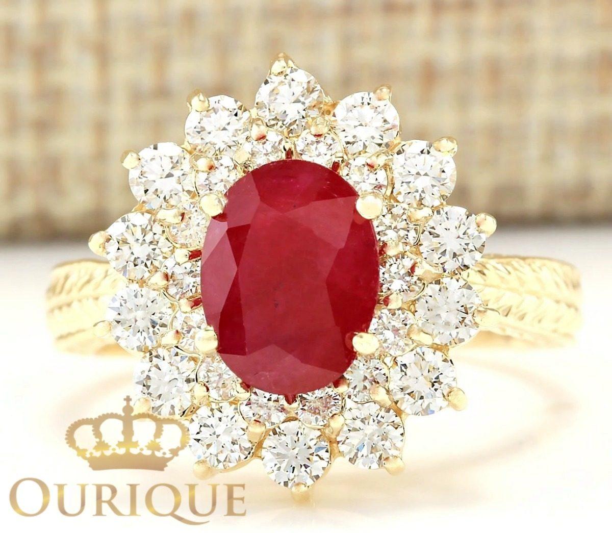 a2da2ebbe71 anel feminino rubi com diamantes de ouro 18k 750 formatura. Carregando zoom.