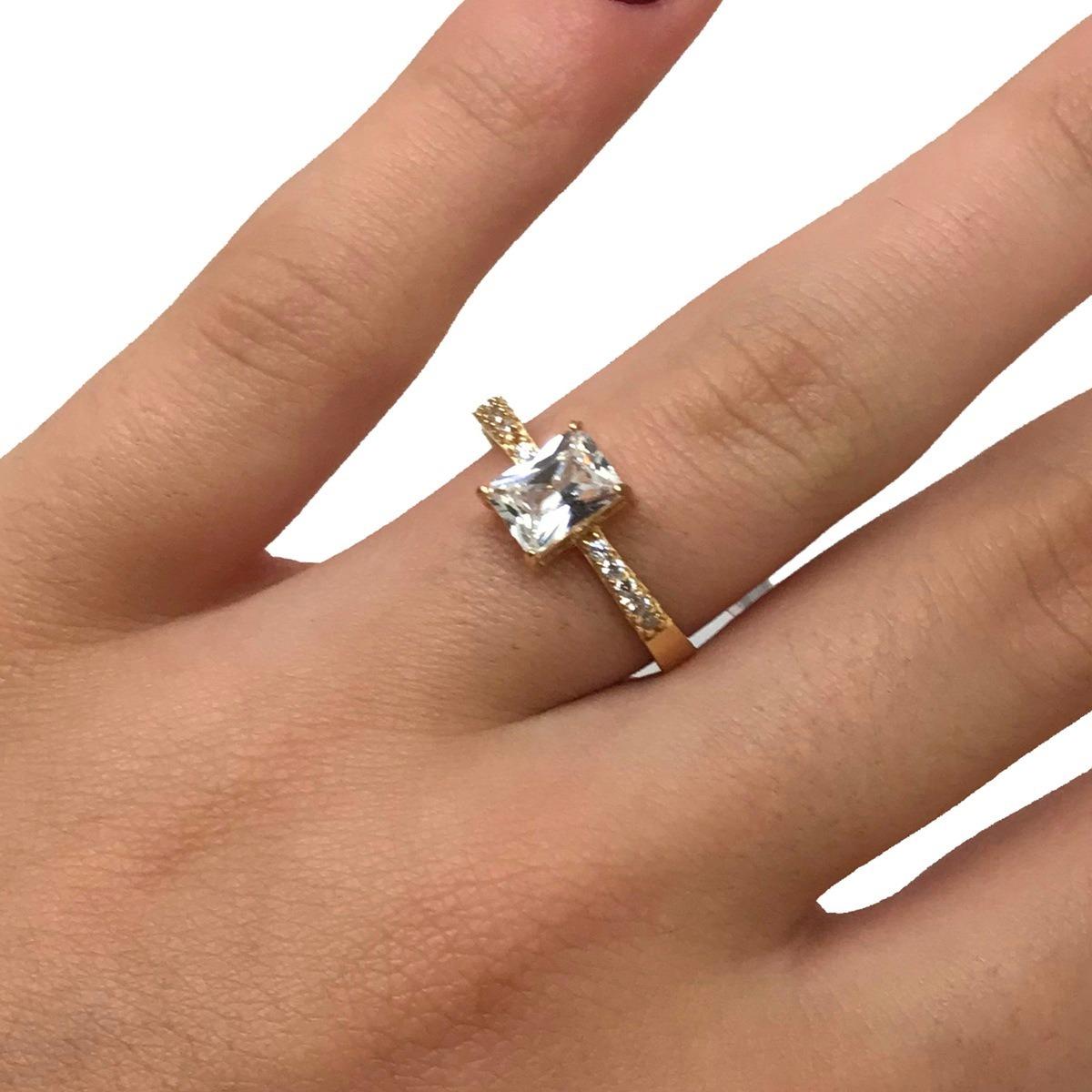 53b152f6bfcd3 anel feminino solitário brilhante retangular ouro 18k 23746. Carregando  zoom.