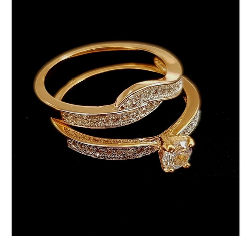 anel feminino solitário com aparador noivado banhado ouro18k