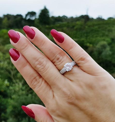 anel feminino solitário cristal luxo noivado prata de lei925