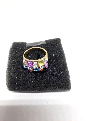 anel feminino tipo solitario bijuteria tamanho 17 com pedras