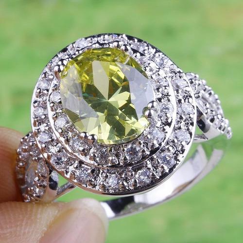 anel feminino topazio amarelo e cristais, prata 580  aro 20