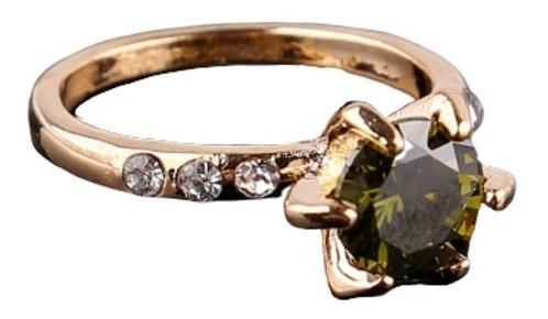 anel feminino zirconia peridoto,folhado a ouro, aro 20 e 21