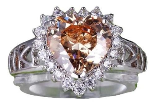 anel feminino,morganite e topazio branco,prata 580 ,aro 14