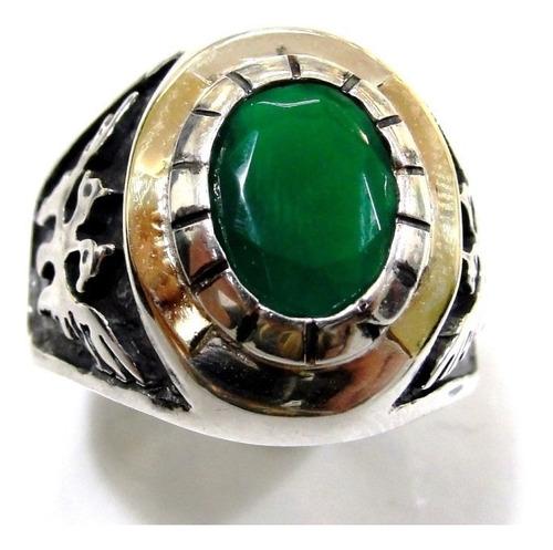 anel fenix aguia prata lei 925 com ouro esmeralda masculino