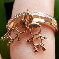 anel filhos com 1 e 2 pingentes menino menina banhado ouro