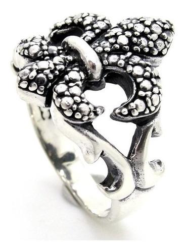 anel flor de lis lotus templario trabalha prata 925 - ma2296