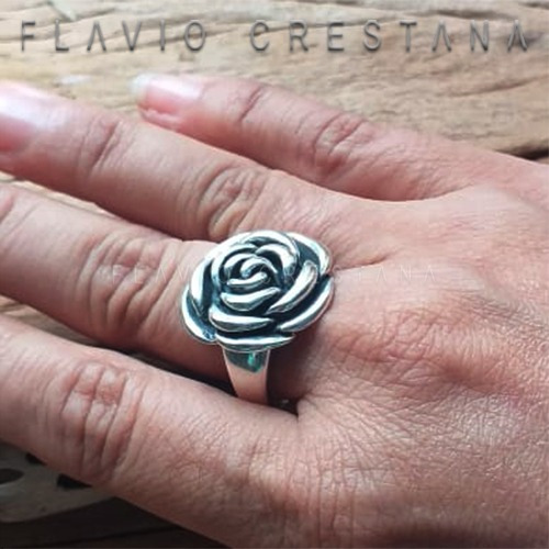 anel flor prata 925, fabricacao propria - 11041101