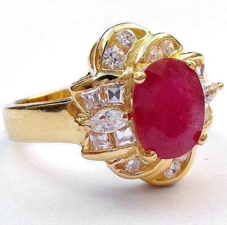 anel flor rubi e topázios naturais prata 925