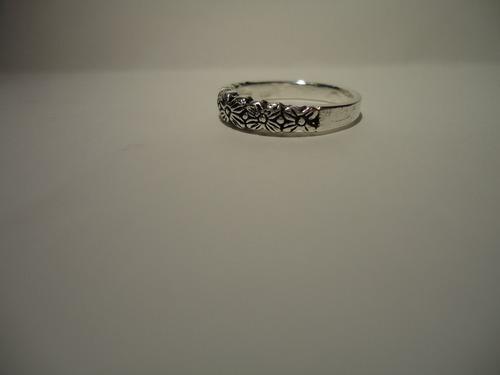 anel flores -  prata de lei