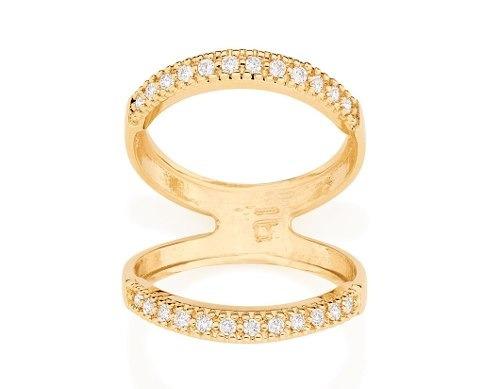 anel folh ouro duplo cravejado  24 zircônias rommanel 512000