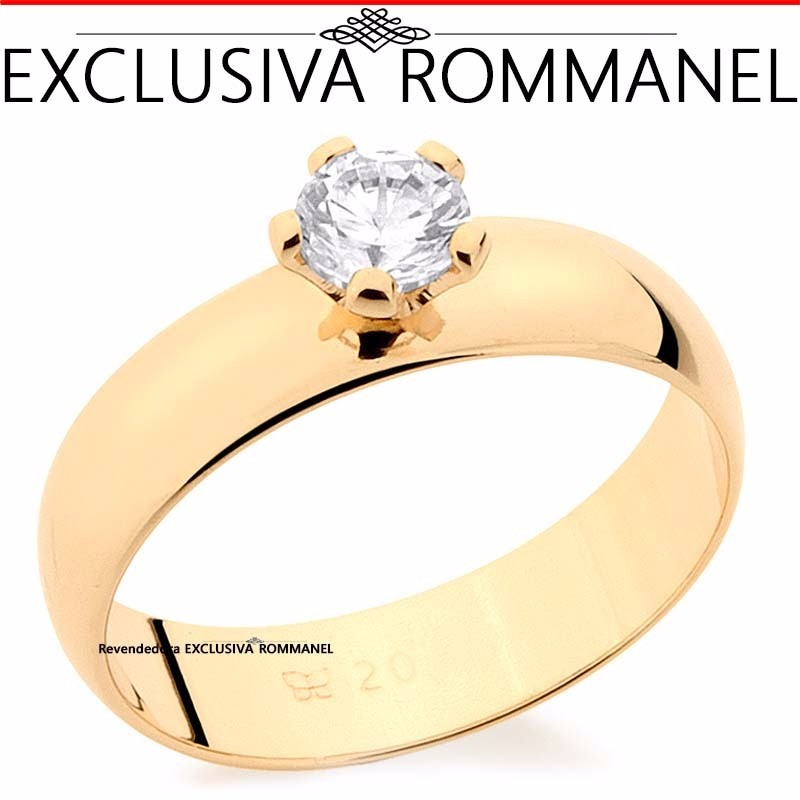 Rommanel Anel Aliança Folhead Ouro Solitario Zirconia 511401 - R ... 83f6146859