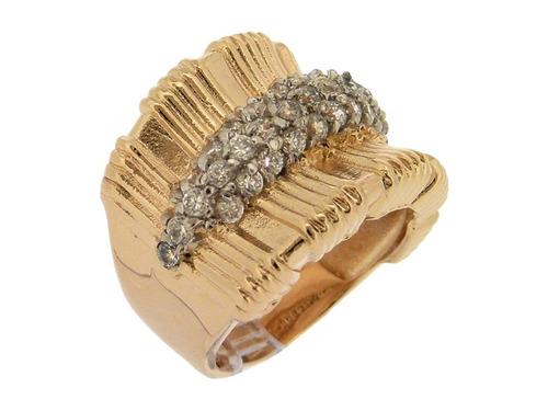 anel folheado a ouro 18k com zircônias brancas e ródio