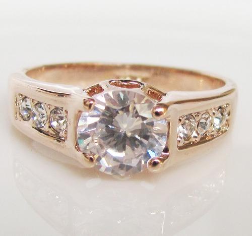 anel folheado a ouro c/ pedras de zircônias