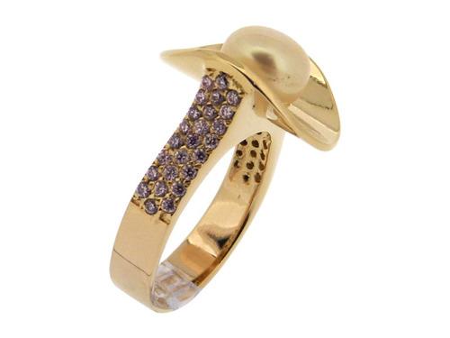 anel folheado a ouro com pérola e zircônias