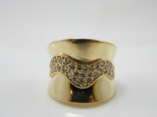 anel folheado a ouro- com zirconia