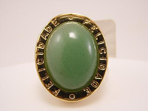 anel folheado a ouro- felicidade, pedra natural verde