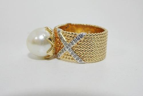 anel folheado a ouro - pérola e zirconias