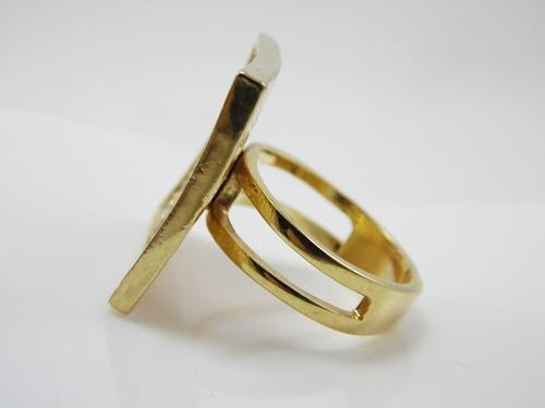 anel folheado a ouro- quadrado,com strass