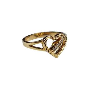 819ad1da8f09e Anel Feminino Coração Vazado Delicado Pedra Banhado Ouro 18k