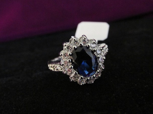 anel folheado ouro branco safira azul topázio lab aro 17