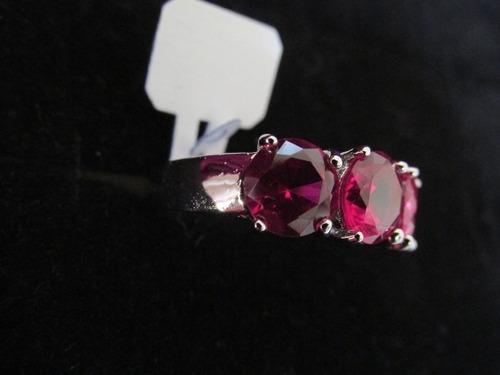 anel folheado ouro branco safira rosa lab aro 16