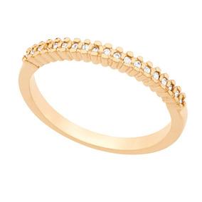 826f9c8380d92 Meia Aliança Folheada A Ouro Com Zirconia Branca - Joias e ...