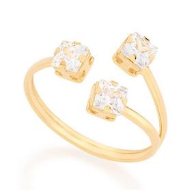 71b0d489d56cf Anel Rommanel Dourado Com Pedras De Zirconia - Joias e Relógios no ...
