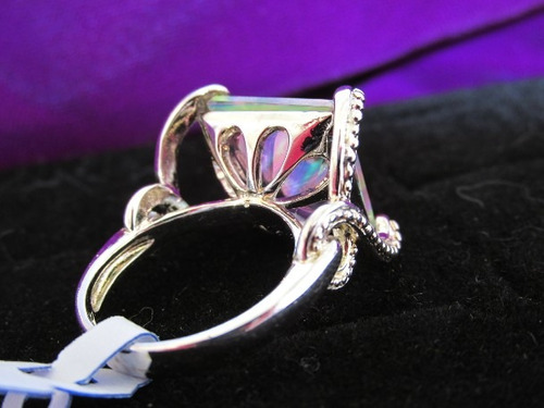 anel folheado prata 925 topázio arco-íris lab aro 15