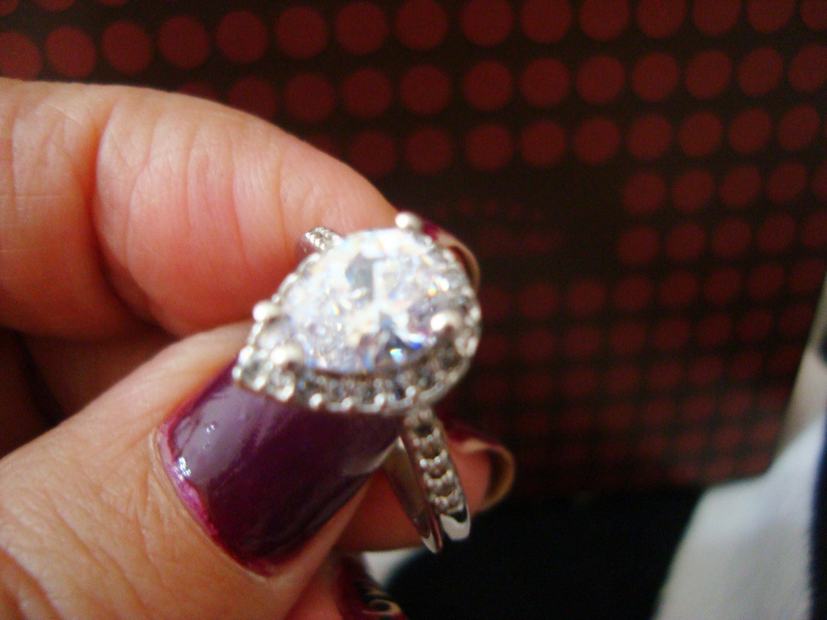 3361c52a6 anel gota zirconias banho ouro branco 18kt aro 16 semi joias. Carregando  zoom.