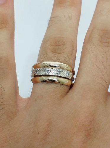 anel grosso feminino masculino prata e ouro jóia verdadeira