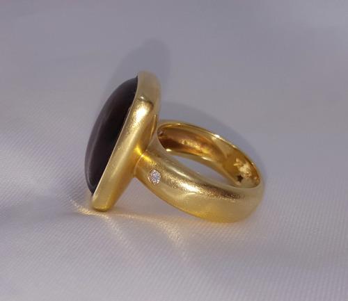 anel hstern de ouro18k brilhantes e quartzo fumê liquido