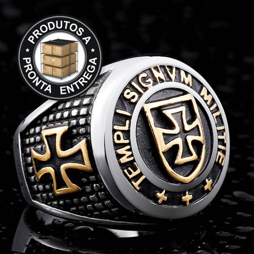 anel inox 316l ouro 18k templário masculino moto lxbr a122