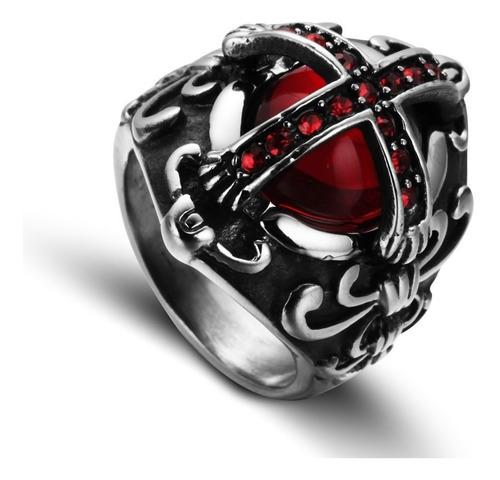 anel inox 316l templario medieval punk cruz olho lxbr a149