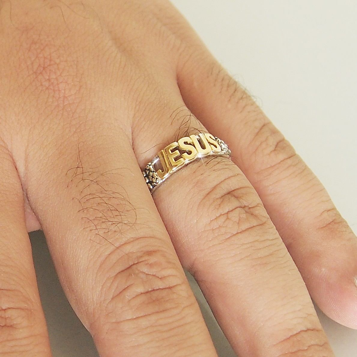 9040352b008 anel jesus prata 925 + banho de ouro 18k masculino  feminino. Carregando  zoom.