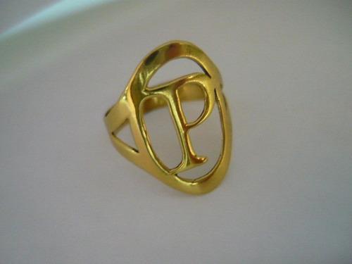 anel letra ouro