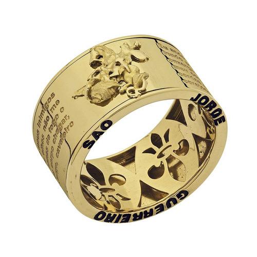 anel lulean oração de são jorge em ouro 18k (750).