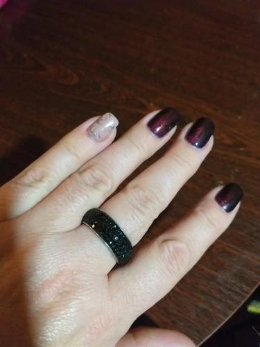 anel luxo de strass preto