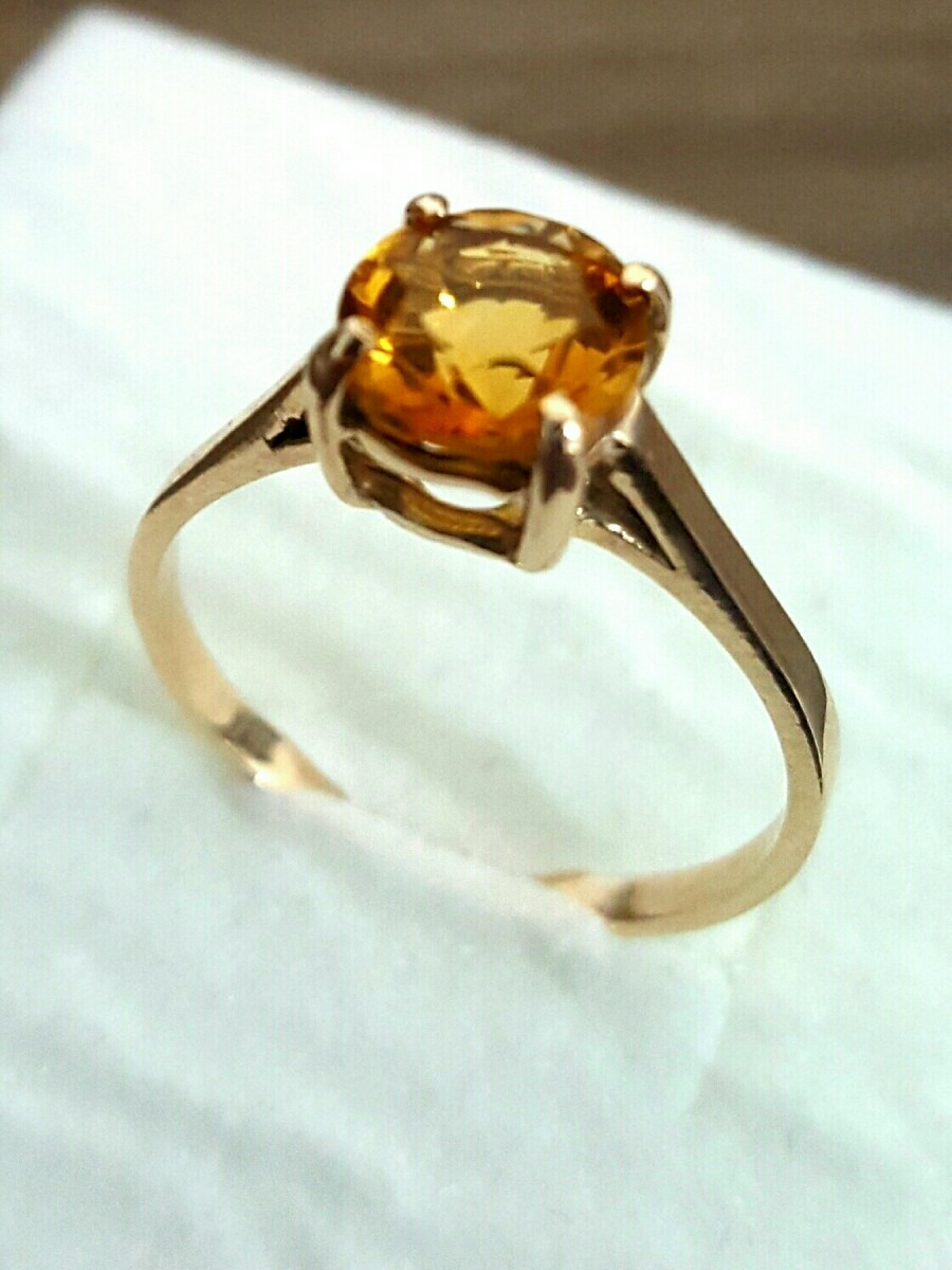 65720312fefef anel maciço ouro 18k solitário pedra natural citrino. Carregando zoom.