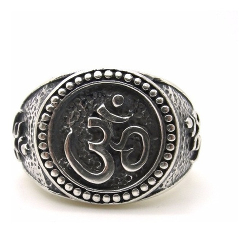 anel maciço prata 950 ala om deus arabe - ma2368