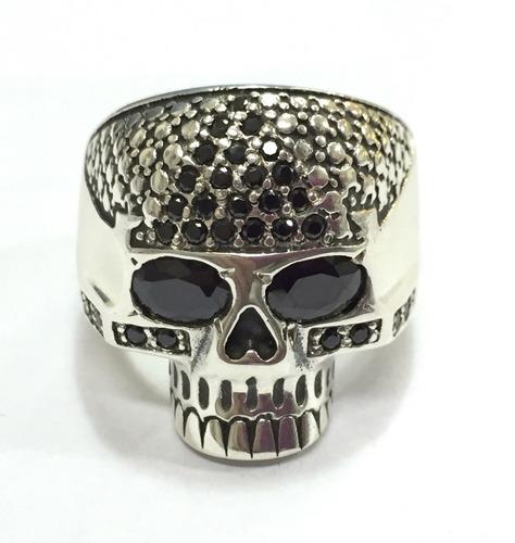 anel maciço prata 950 cravejado de pedras caveira skull