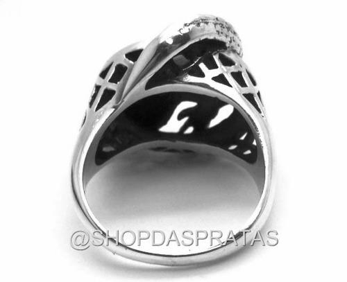 anel maçico prata 950 jacare largato crocodilo reptil ma2774