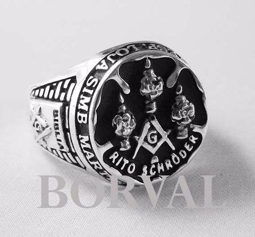 anel maçônico rito schröder, masculino prata 925
